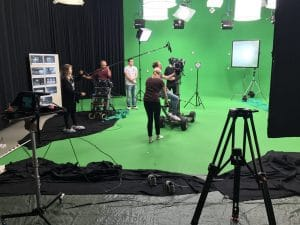 Sound Design Boom Operator in Green Screen Studio
